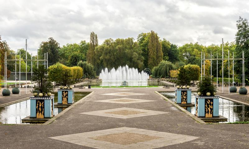 Fountain alley and a small square in the middle of Battersea park, London, England stock photography