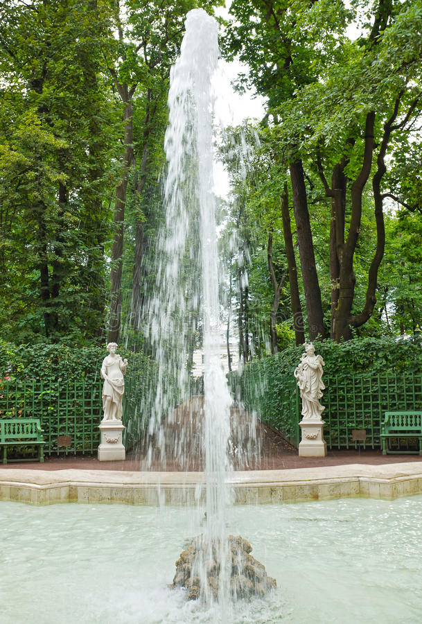 Fountain and antique statues in the Summer Gardens park royalty free stock photo