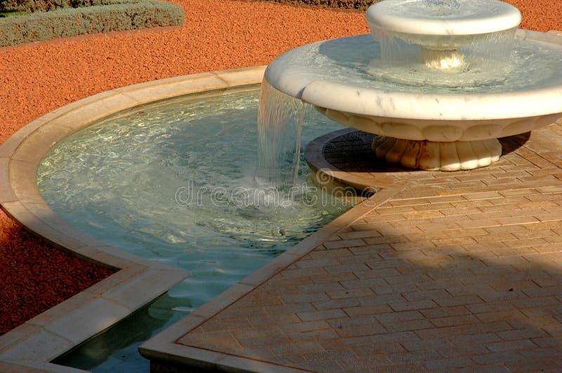Fountain in Bahai Haifa stock photos