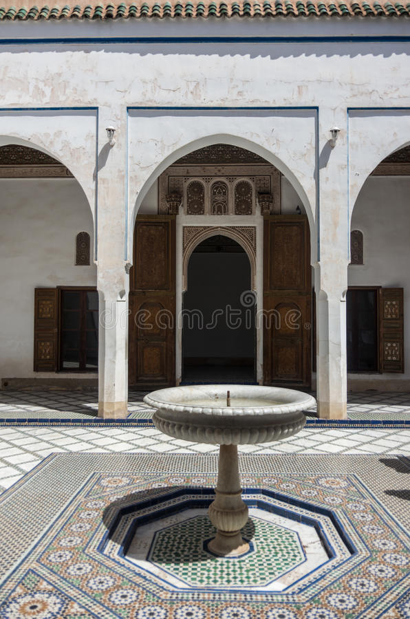 Fountain in Bahia palace courtyard. Marrakech, Morocco royalty free stock photos