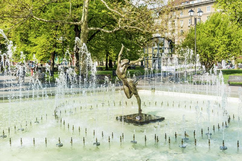 Fountain with Ballerina Statue royalty free stock photography
