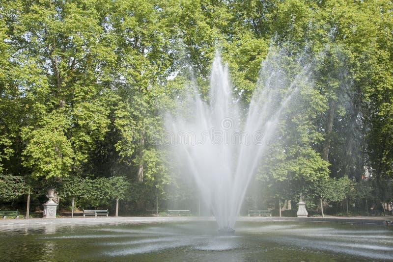 Fountain in Brussels Park - Parc de Bruxelles - Warandepark stock images
