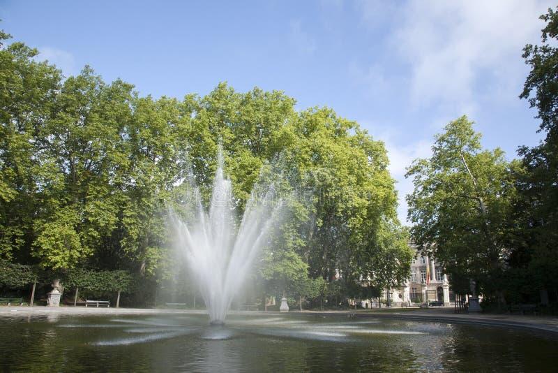 Fountain in Brussels Park - Parc de Bruxelles - Warandepark stock photos