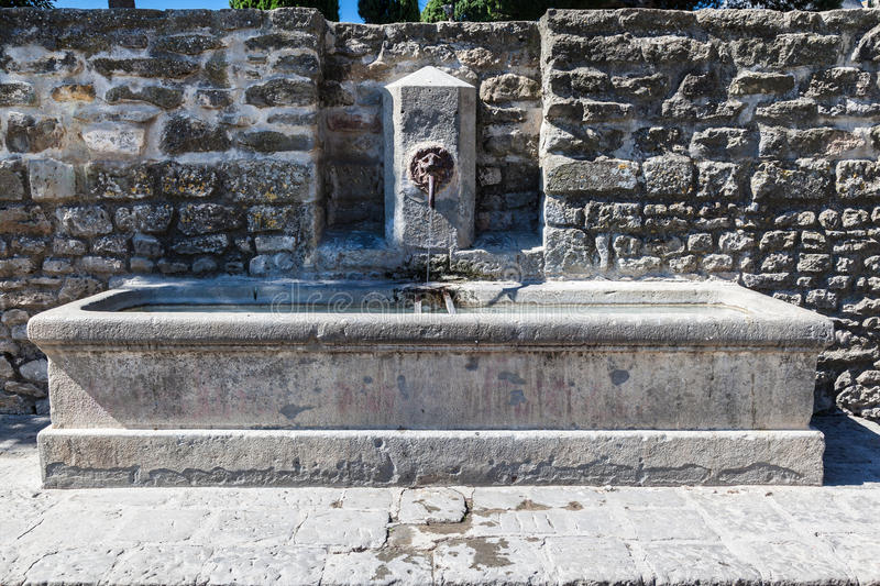 Download Fountain in Carcassonne stock image. Image of city, lion - 32399603