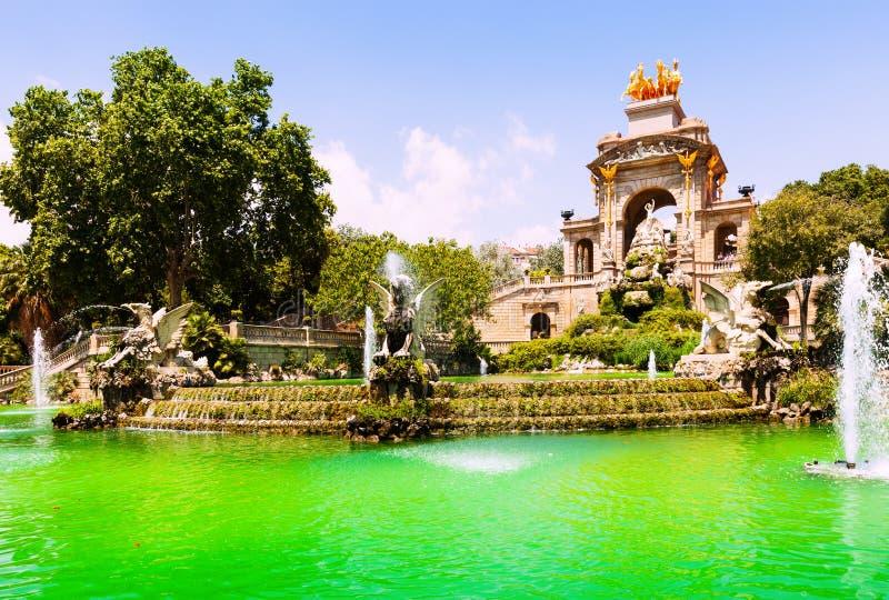 Fountain Cascada at Parc de la Ciutadella. View of Barcelona, Spain. Fountain Cascada at Parc de la Ciutadella royalty free stock image