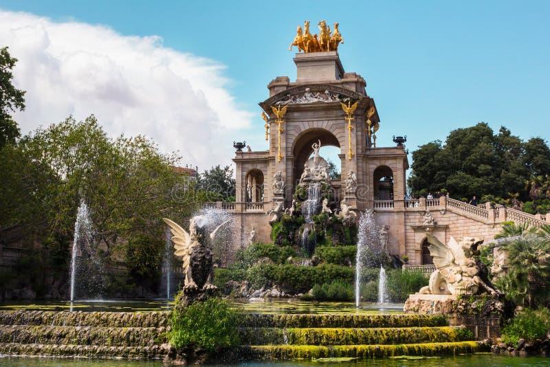 Park de La Ciutadella. Fountain and cascade in park De la Ciutadella. Barcelona, Spain stock photography