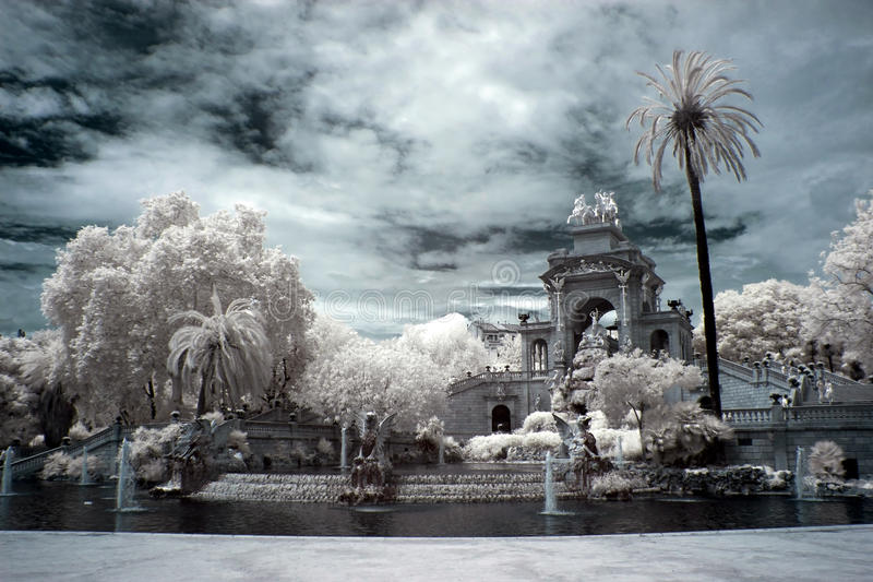 Fountain and cascade in park De la Ciutadella in Barcelona royalty free stock image