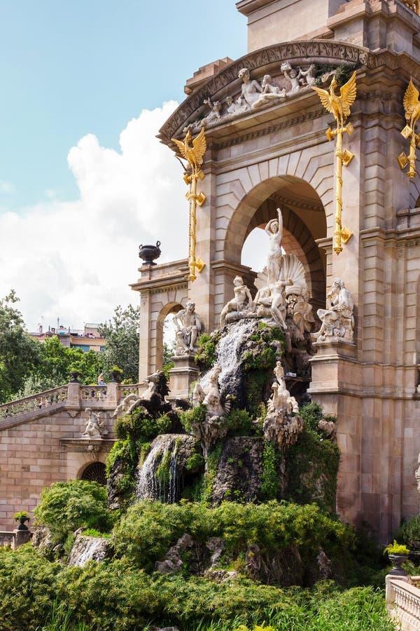 Park de La Ciutadella. Fountain and cascade in park De la Ciutadella. Barcelona, Spain royalty free stock photo