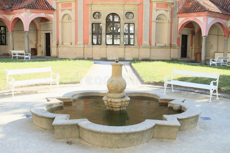 Fountain on castle in Jindrichuv Hradec. Fountain with water in front of chateau roundel on renaissance castle in Jindrichuv Hradec (Czech Republic stock photos