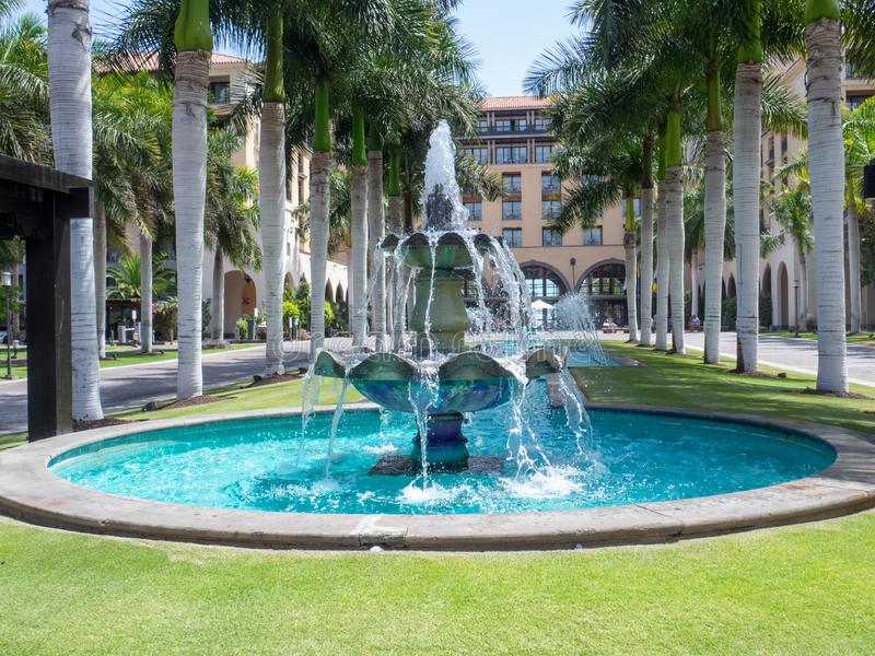 Fountain in the center of Maspalomas, Gran Canaria. Gran Canaria/Spain - August 8 2019: Maspalomas is a tourist town in the south of the island of Gran Canaria stock photography