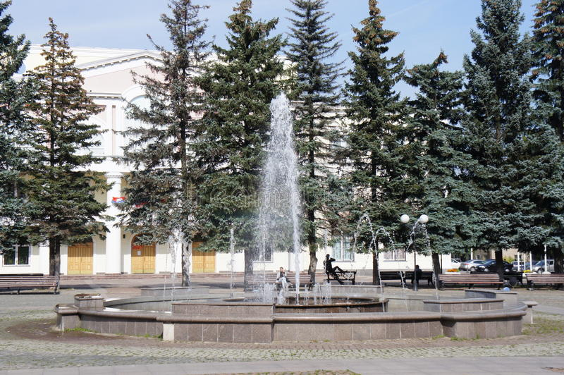 The fountain in the Central square of the provincial town of Dolgoprudny royalty free stock photography