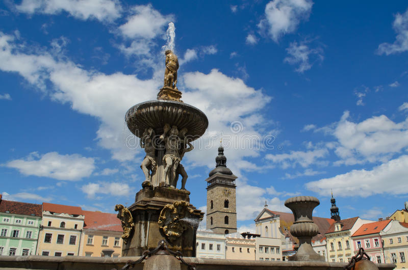 Fountain in Ceske Budejovic stock image