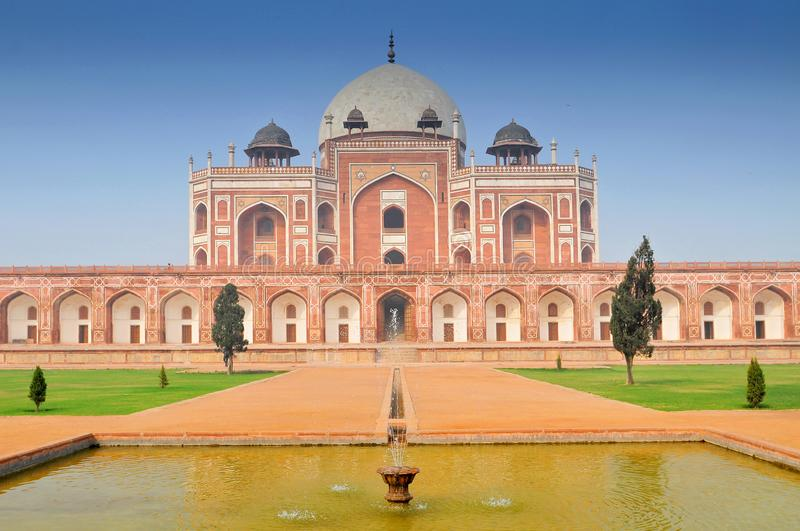 Fountain in the Charbagh Garden of the Tomb of Humayun in Delhi, India stock image