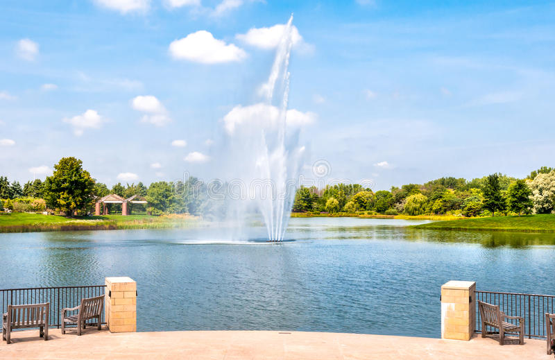 Fountain in the Chicago Botanic Garden, USA royalty free stock image