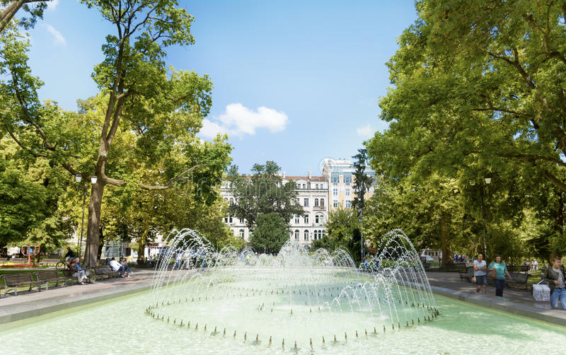 Fountain In The City Garden Of Sofia,in Front Of The Ivan Vazov ...