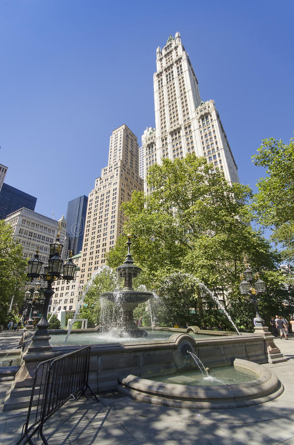 Fountain of the City Hall Park stock photography