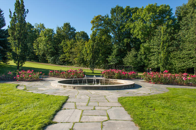 Fountain in city public park Frogner Oslo, Norway royalty free stock image