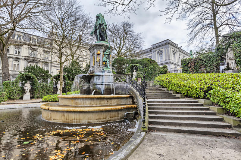 The fountain of the Counts of Egmont and Hornes in Brussels stock photos