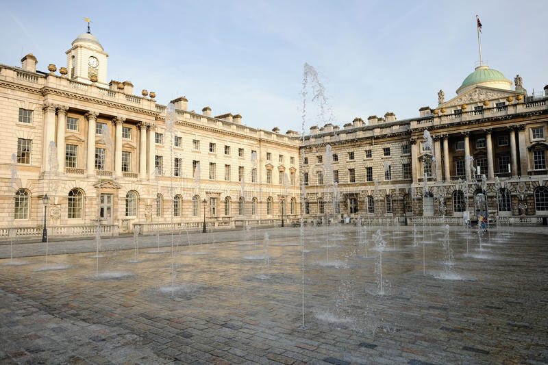 Fountain, courtyard of Somerset House, London royalty free stock photo