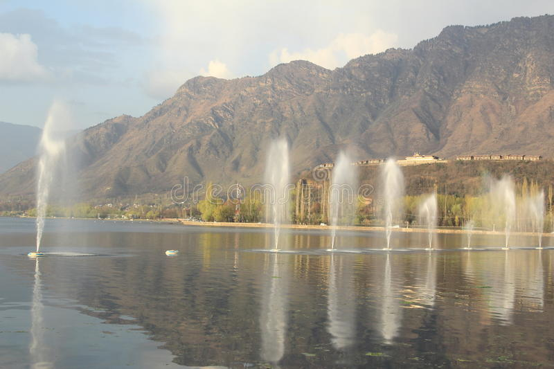 Fountain On Dal Lake. stock images