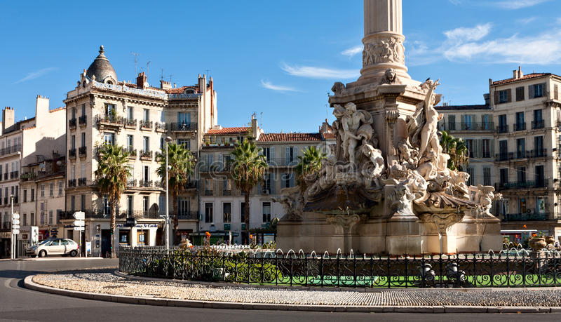 Fountain de Cantini at the Place Castellane in Marseille royalty free stock image