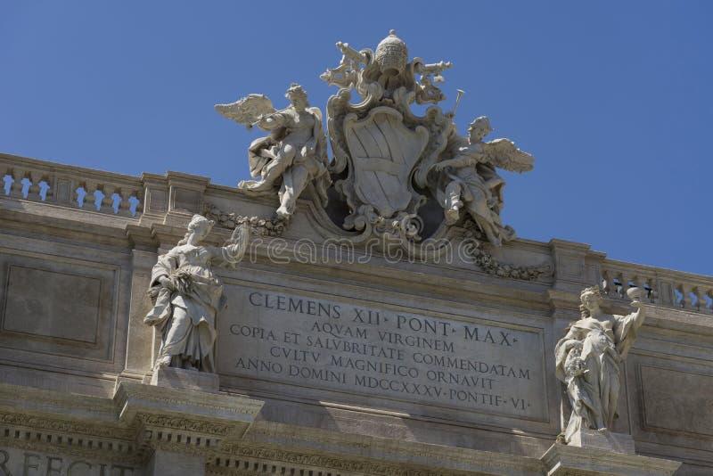 Fountain de Trevi美好的细节在罗马 意大利 2017年6月 库存照片