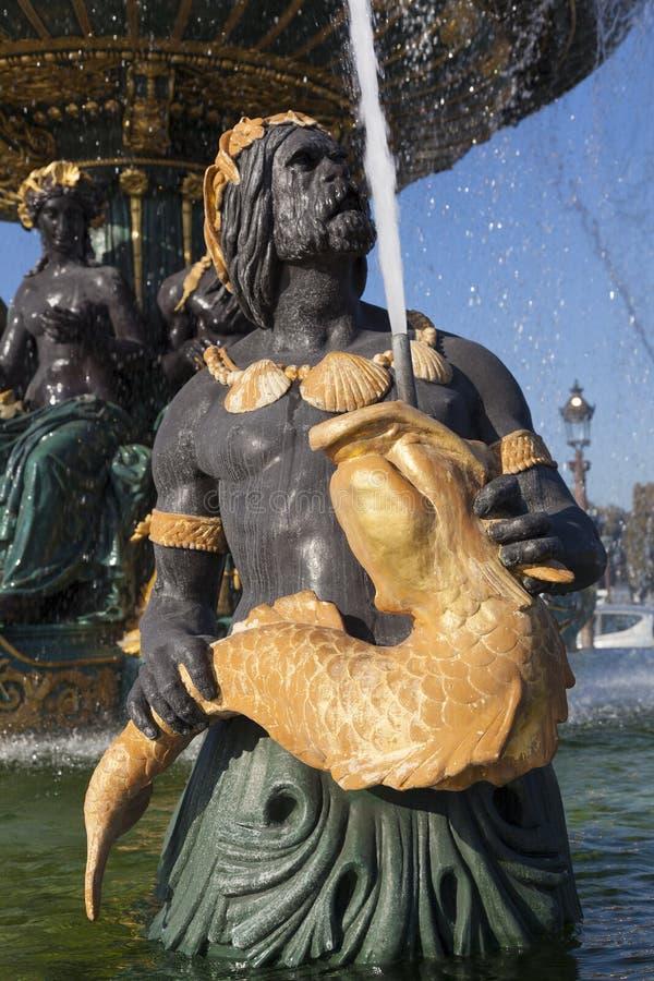 Fountain des Mers, Concorde square, Paris. Ile de France, France royalty free stock images