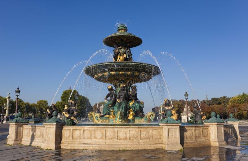 Fountain des Mers, Concorde square, Paris. Ile de France, France stock photo