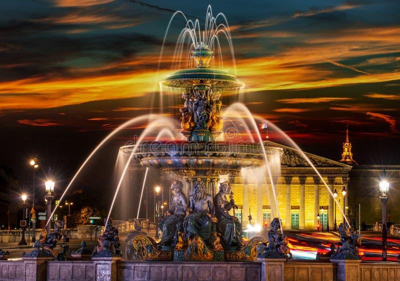 Fountain des Mers. At the Place de la Concorde in Paris royalty free stock images