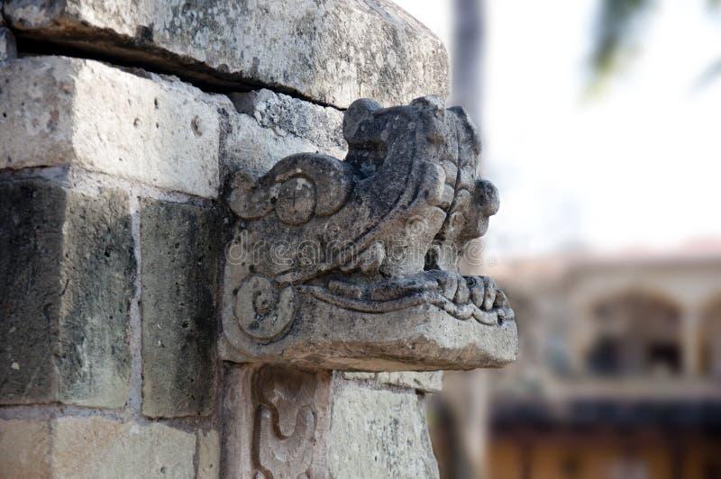 Fountain detail Copán Ruinas. Mayan motif detail on fountain in Central Plaze, Copán Ruinas, Honduras royalty free stock photo