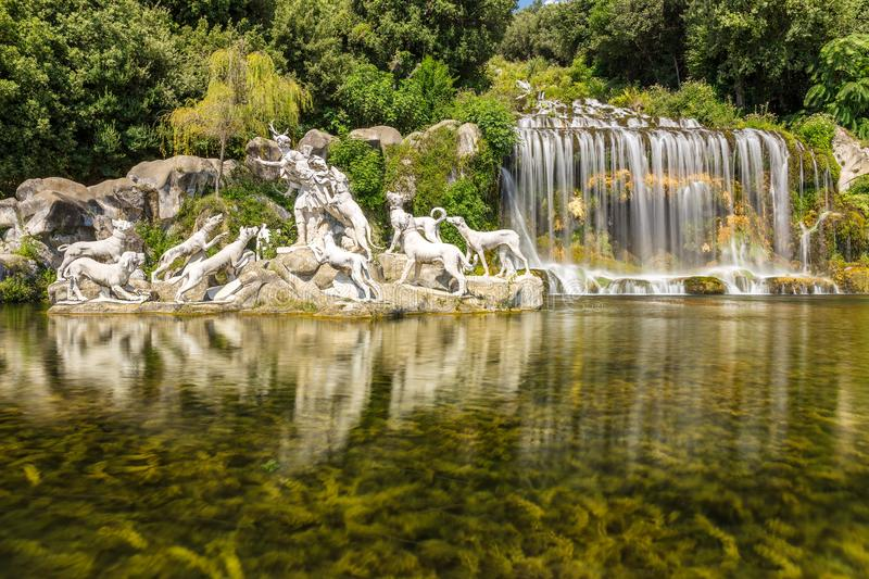 Fountain of Diana and Actaeon in Caserta, Italy stock images