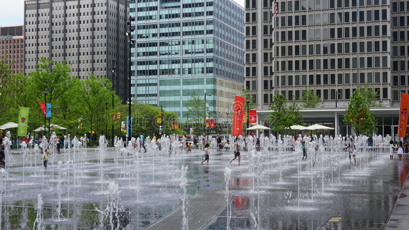 Fountain at Dilworth Park in Philadelphia stock images