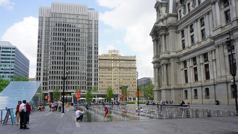 Fountain at Dilworth Park in Philadelphia royalty free stock images