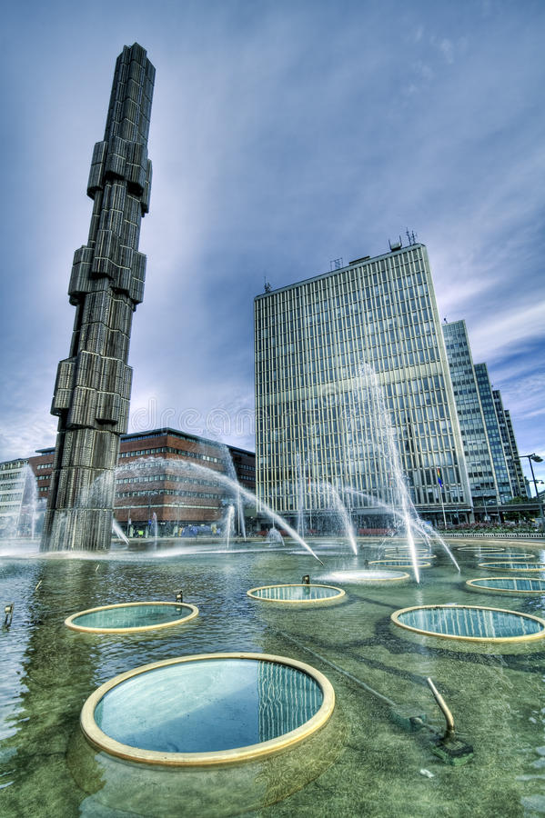 Fountain, downtown Stockholm. royalty free stock image