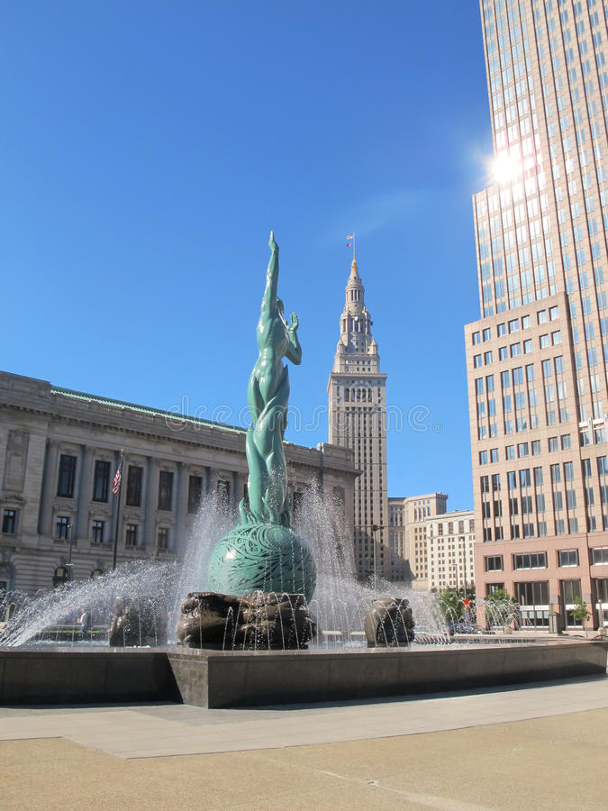 Fountain of Eternal Life in Cleveland Ohio. stock photos