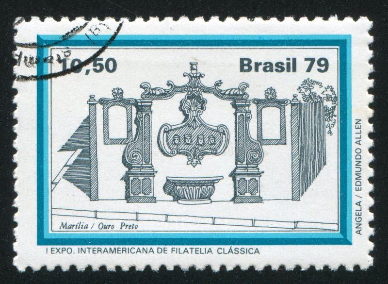 Fountain Facade Marilia Ouro Preto. BRAZIL - CIRCA 1979: stamp printed by Brazil, shows fountain Facade Marilia Ouro Preto, circa 1979 stock images