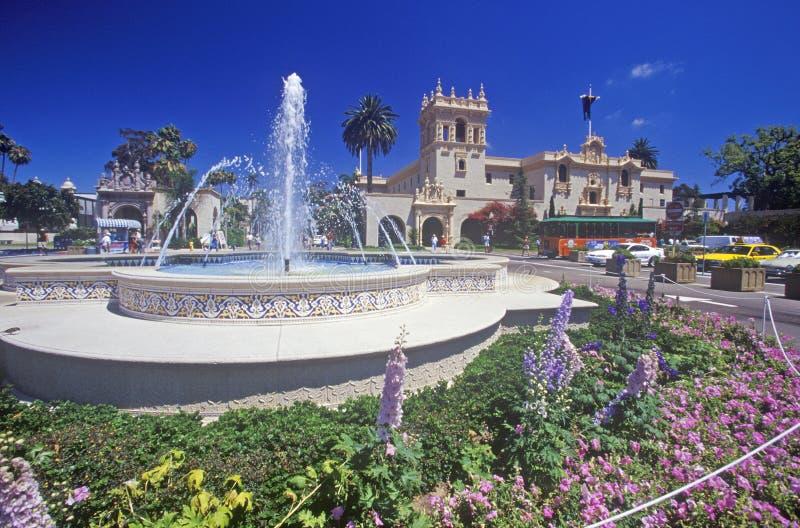 Fountain and flowers at Balboa Park Gardens, San Diego, California stock photo