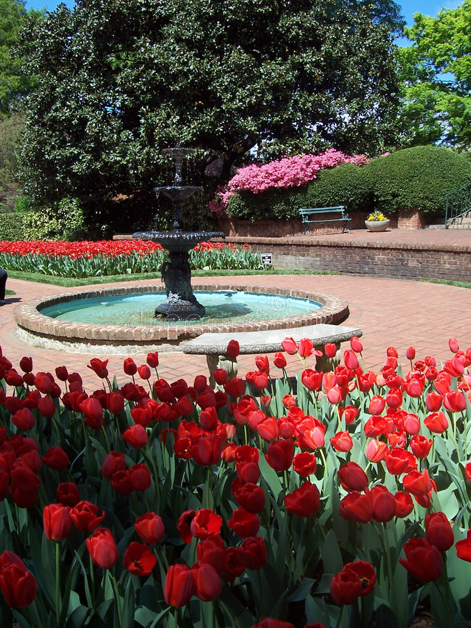 Fountain in formal garden royalty free stock photo