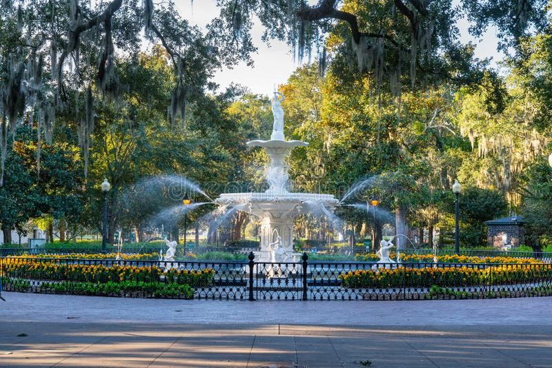 Fountain in Forsyth Park, Savannah stock photos