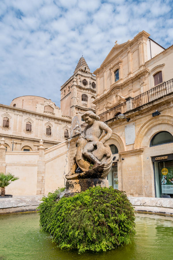 Fountain found in the historical centre of Noto in Southern Sicily, Italy. Fountain Statue found in the historical centre of Noto in Southern Sicily, Italy royalty free stock photo