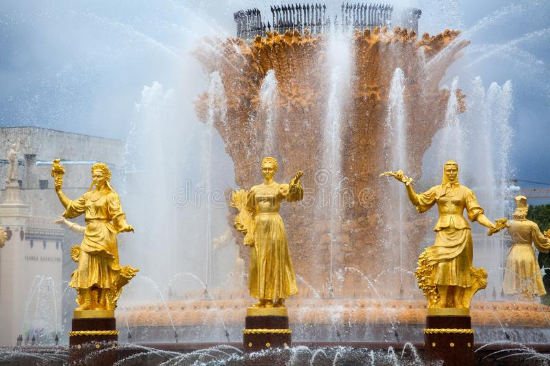 Fountain Friendship of Nations or Peoples of the USSR, Exhibition of Achievements of National Economy VDNKh, Moscow, Russia. Women statues symbol of Ukrainian stock photo