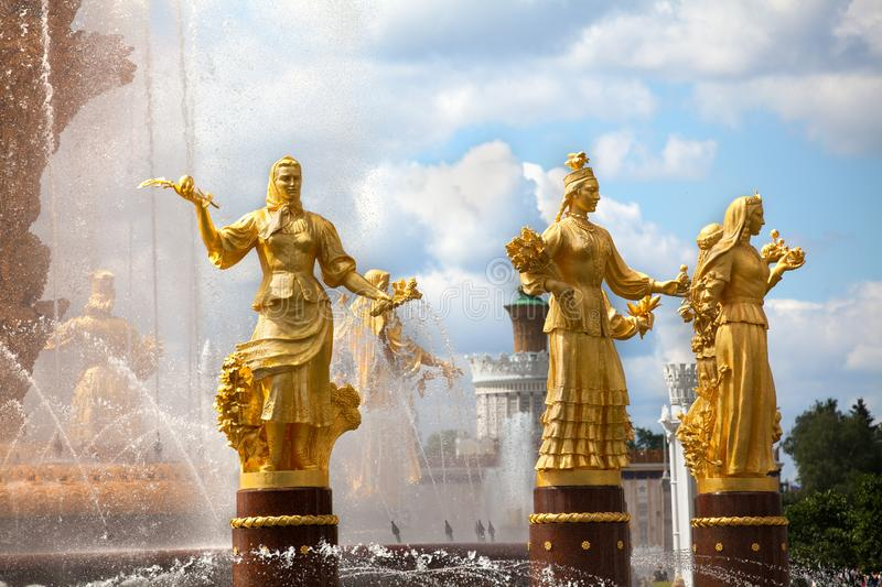 Fountain Friendship of Nations or Peoples of the USSR, Exhibition of Achievements of National Economy VDNKh, Moscow, Russia. Women statues symbol of Belarusian royalty free stock photography