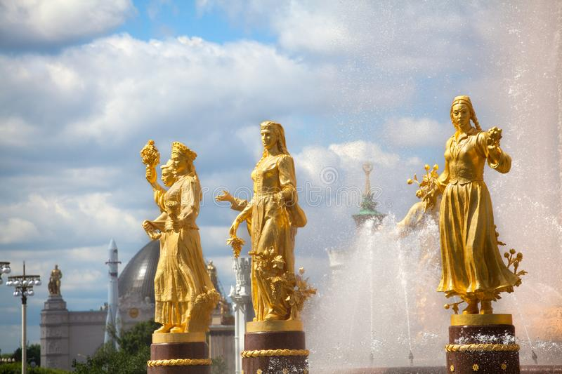 Fountain Friendship of Nations or Peoples of the USSR, Exhibition of Achievements of National Economy VDNKh in Moscow, Russia. Women statues symbol of stock photography
