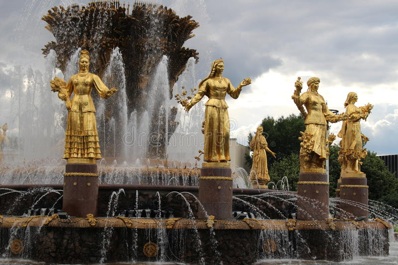 Fountain Friendship of Peoples at VDNH in Moscow, Russia stock photos