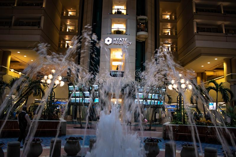 Fountain in front of Hyatt Regency Orlando International Airport.at Orlando International Airport  2 stock photography