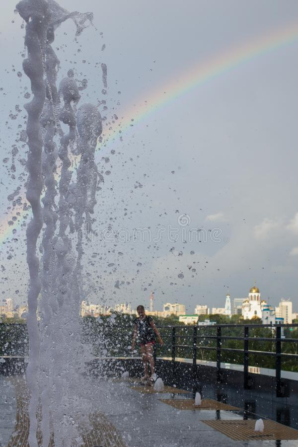 Frozen drops of water. Rainbow. Cityscape of Yekaterinburg, Russia royalty free stock photography