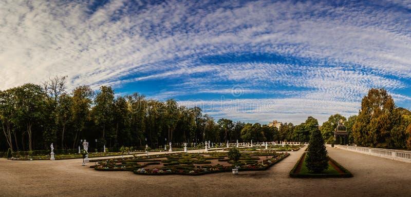 Fountain and garden near Branicki Palace in Bialystok stock image