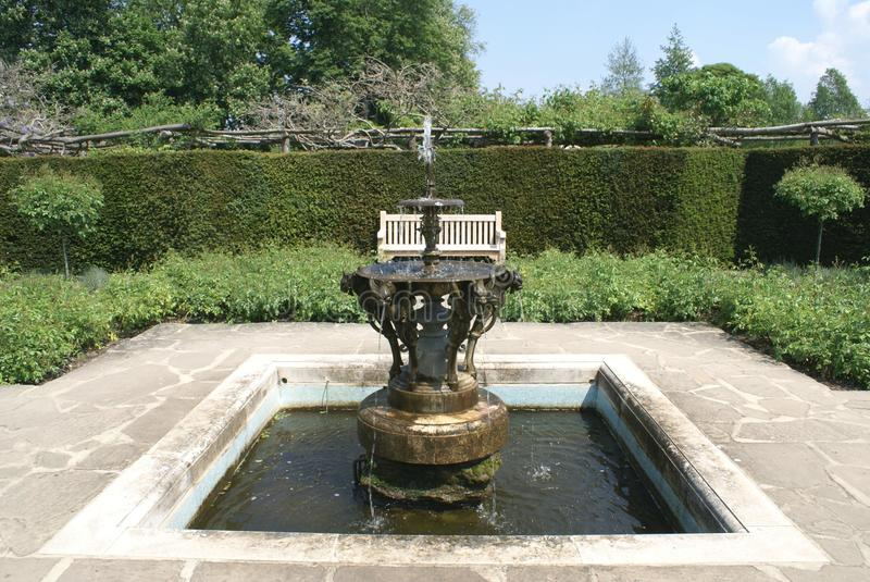 Fountain. The garden of the tourist attraction Hever castle in Hever, Edenbridge, Kent, England, Europe stock image