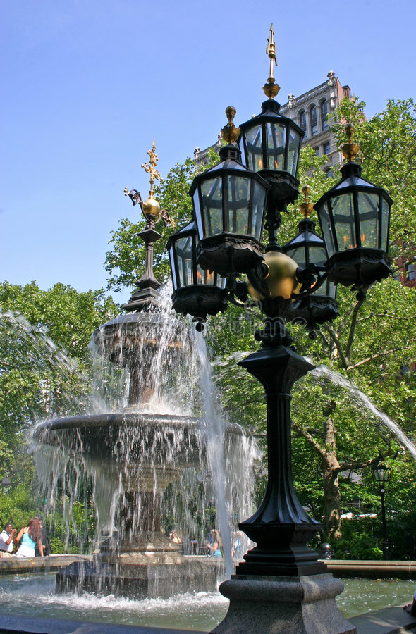 Download Fountain with Gaslights stock image. Image of green, city - 893581
