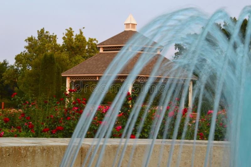 Download Fountain Gazebo and Roses stock image. Image of peaceful - 98594755